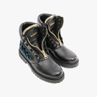 Taiga rangers leather and velvet boots | Women's shoes | Balmain