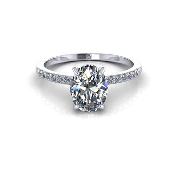14K White Gold Oval Moissanite Diamond Engagement Ring