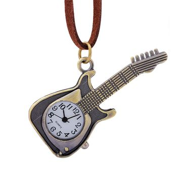 Exquisite Bronze Robots Guitar Necklace Watch Women Men Leather Strap Quartz Movement Cartoon Chain Clock Girls reloj dama