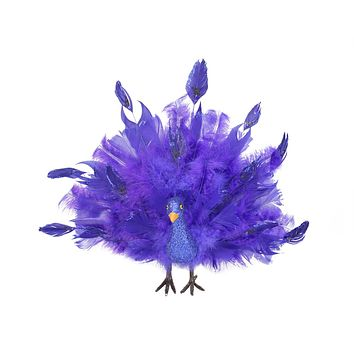 "13.5"" Colorful Purple and Blue Regal Peacock Bird with Open Tail Feathers Christmas Decoration"