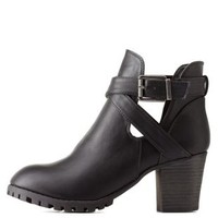 Black Bamboo Belted Lug Sole Booties by Bamboo at Charlotte Russe
