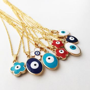 Evil eye necklace, evil eye charm necklace, clover charm necklace, evil eye jewelry