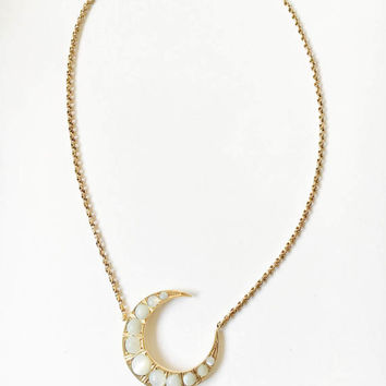 Antique Silver Gilt 'Moonstone' Crescent Moon on Antique 9ct Gold Chain, Necklace