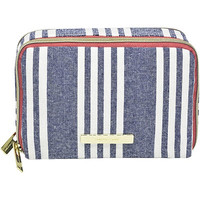 Chambray Travel Double Zip Makeup Organizer Navy Stripe