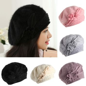 Women Ladies Flower Winter Warm Knit Crochet Slouch Baggy Beanie Hat Beret 5colors