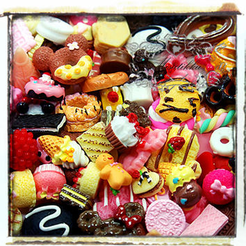 25 PCS Mix Cabochon Diy Deco kit Assorted Cabochon Macaroon Donuts Candy Resin Ribbon Flat Back Cute Sweets Cabochon Decoden Miniature AK