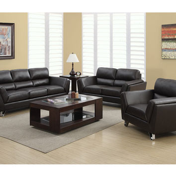 Dark Brown Bonded Leather / Match Sofa