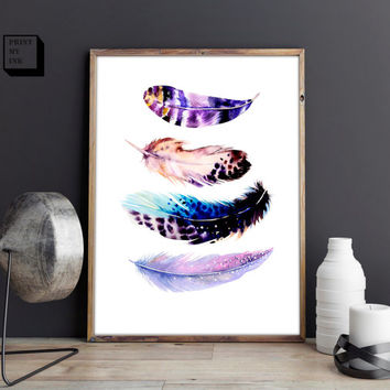 Feathers print, feathers poster, feathers printable, instant download, digital, feather wall art, watercolor print, wall decor, wall hanging