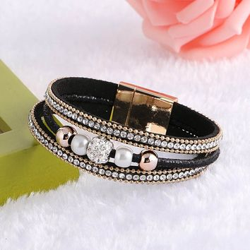 Fashion Multilayer Styles Magnetic Clasp Leather Bracelets Bangles for Women Pendant Female Jewelry