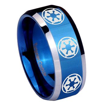 8mm Multi Star Wars Empire Beveled Edges Blue 2 Tone Tungsten Mens Ring Engraved