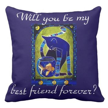 Cat and Fish as Best Friends Forever Throw Pillow