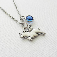 Flying Pig Necklace, When Pigs Fly, Animal, BFF, Best Friend Gift, Birthday Jewelry, Silver Necklace, Swarovski Channel Birthstone Crystal