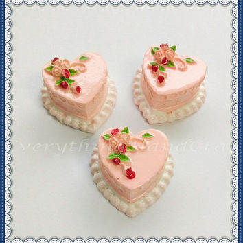 Pink Heart Rose Birthday Cake Cabochon Resin (3pcs) / Embellishment / DIY Decoden Craft / Fake Food Jewelry Phone case Charms b33