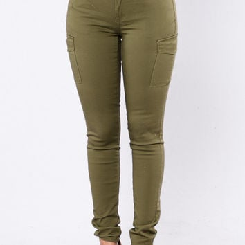 Cargo Show Pants - Olive Wash