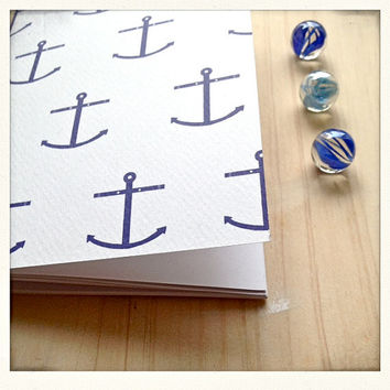 Nautical Mini Notebook with Anchor Pattern Hand Bound with Red thread
