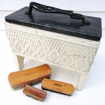 Vintage Wicker Shoe Shine Box, Ladies Shoe Shine Kit, Shoe Shine Valet with Shoe Brushes, Foot Rest