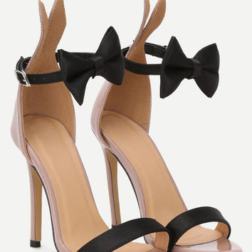 Bow Tie Ankle Strap Heeled Sandals