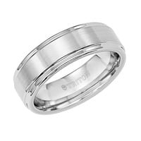 7mm wide white tungsten carbide mens wedding band with raised center