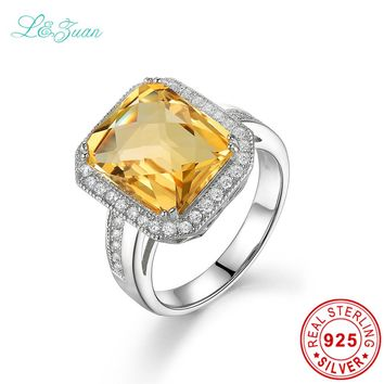 L&zuan 925 Sterling Silver Jewelry Ring Citrine Natural Yellow Stone Luxury Models Square Cluster Wedding Rings For Woman