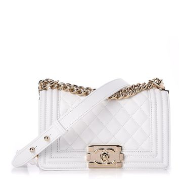 CHANEL Lambskin Quilted Small Boy Flap White