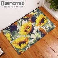 Autumn Fall welcome door mat doormat Sunflower Decorative Floor Mat Kitchen Rugs Hallway Home Entrance s Carpets Anti-Slip Floral s for Living Room AT_76_7