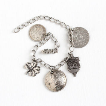 Vintage Sterling Silver Charm Bracelet - 1940s Sixpence, Centimes, Canadian 5 Cent Coin, Four Leaf Clover, Mt. Vernon VA Pendant Jewelry