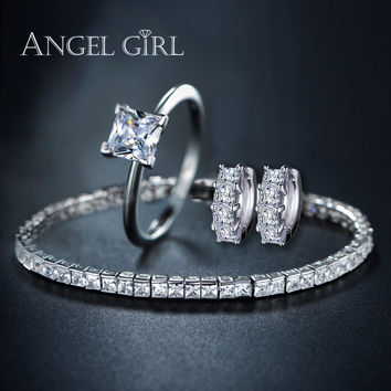 AG Bridal jewelry sets silver plated for Women gift 1 Pair CZ Stud Earrings/Tennis bracelet/squzre ring of Perfect Handcraft