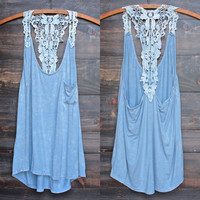 powder blue acid wash high-low racer back tank