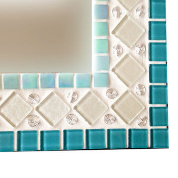 Teal, Aqua, White, Silver Wall Mirror // Mixed Media Mosaic