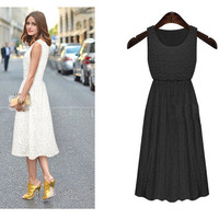 High Waist Sheath Lace Sleeveless Midi Skater Dress