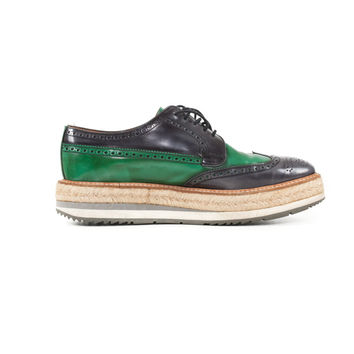 Green & Blue Raffia & Leather Wingtip Oxford Shoes