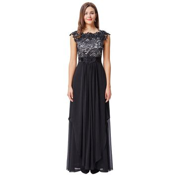 Black Lace Evening Dresses Long Party Dress Cap Sleeve V-Back Chiffon Prom Dresses Formal Evening Gown