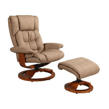 Mac Motion Chairs VINCI-914-103 Stone (Tan) Nubuck Bonded Leather Swivel, Recliner with Ottoman