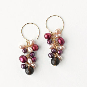 Pink Pearl Earrings, Brown Smokey Quartz, Cluster Drop Earrings in Gold Fill