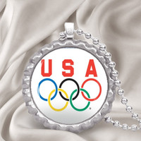Team USA Olympics Rings Bottle Cap Pendant Necklace