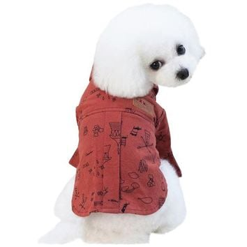 Red Cute Print Dog T-Shirt