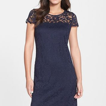 Women's Donna Ricco Illusion Yoke Scalloped Lace Shift Dress,