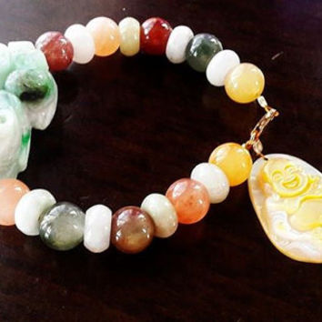 Money and Happiness Charm Bracelet | Natural Multi Color Jade
