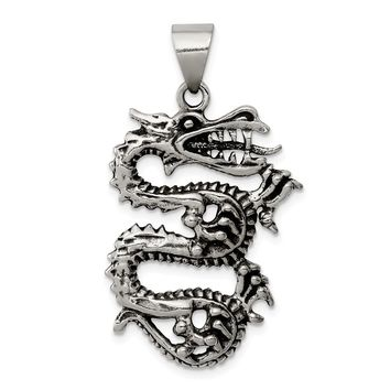 925 Sterling Silver Antiqued Dragon Shaped with Tongue Out Pendant