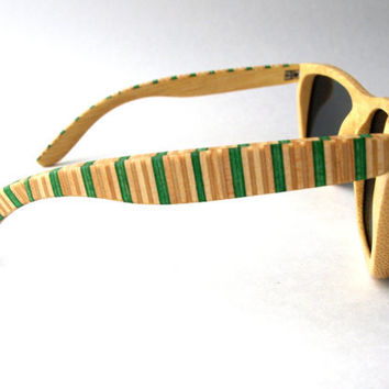 SPRING SALE Recycled Skateboard Sunglasses - Bamboo
