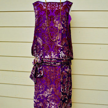 1920s Downton Abbey Flapper Vintage Style Made to Order Dress in Hand Dyed Burn Out Velvet