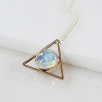 Moonstone and Larimar Two-Faced Triangle Necklace, Double Stone Necklace, 14K Gold or Silver Pendant, Gemstone Necklace, Stone Pendant