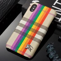 BURBERRY Fashion Rainbow Line Hard Mobile Phone Cover Case For iphone 6 6s 6plus 6s-plus 7 7plus 8 8plus X XSMax XR