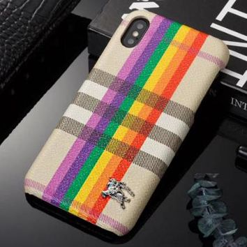 BURBERRY Fashion Rainbow Line Hard Mobile Phone Cover Case For iphone 6 6s  6plus 6s- c3fe9f91aa