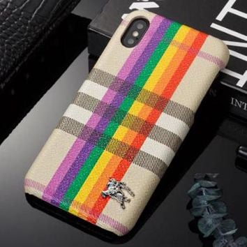 BURBERRY Fashion Rainbow Line Hard Mobile Phone Cover Case For iphone 6 6s  6plus 6s- bb54bc5f8d