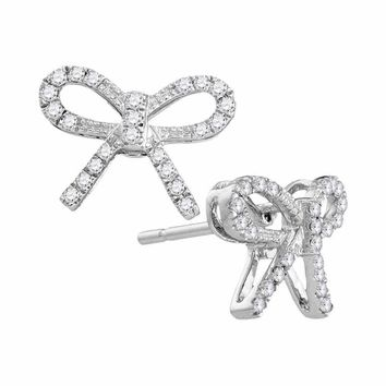 10kt White Gold Women's Round Diamond Bow-tie Ribbon Know Screwback Stud Earrings 1-5 Cttw - FREE Shipping (US/CAN)