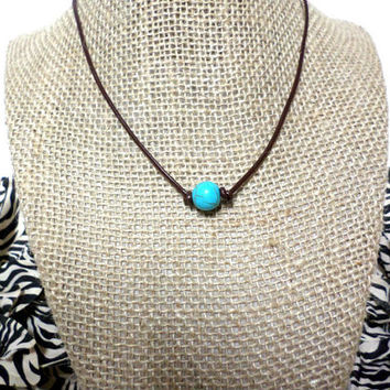 12-13mm Turquoise stone brown genuine leather cord choker necklace, pearl knot choker necklace, turquoise knot necklace, pearl choker, gift