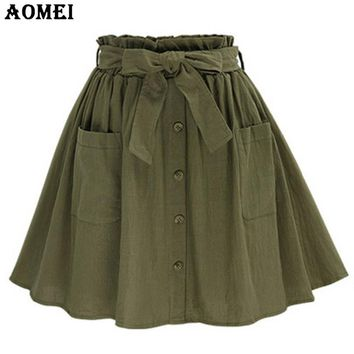 Women Summer Army Green Skirt A Line With Waist belt Girls Casual Linen Slim New Female Fashion Clothes