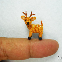 Miniature Fawn Deer  Teeny Tiny Crocheted Fawn Buck Deer  by SuAmi