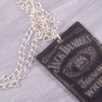 Jack Daniels Shrinky Dink Charm Pendant on Silver plated chain Necklace